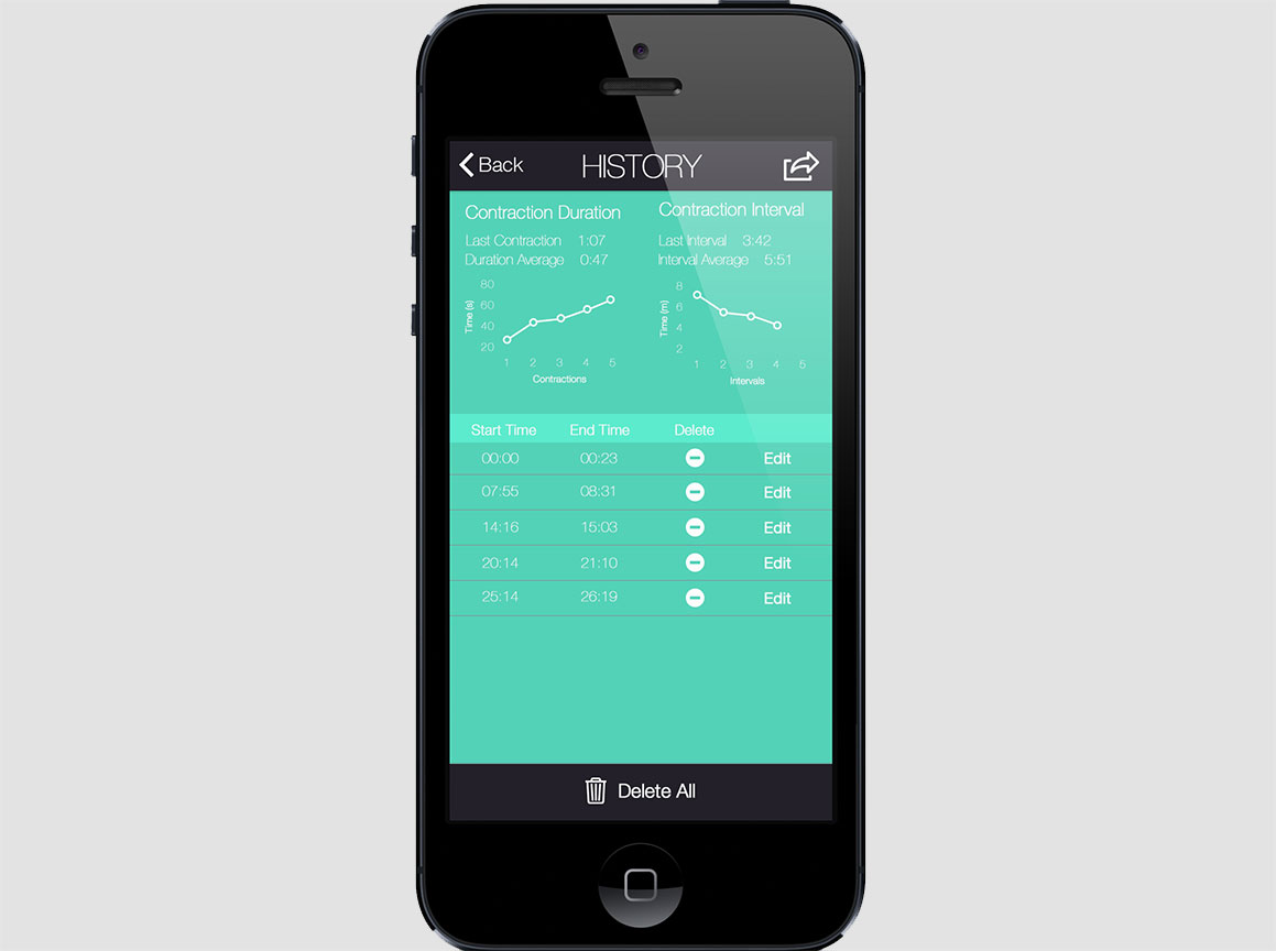 Contraction Tracker App Screen 2